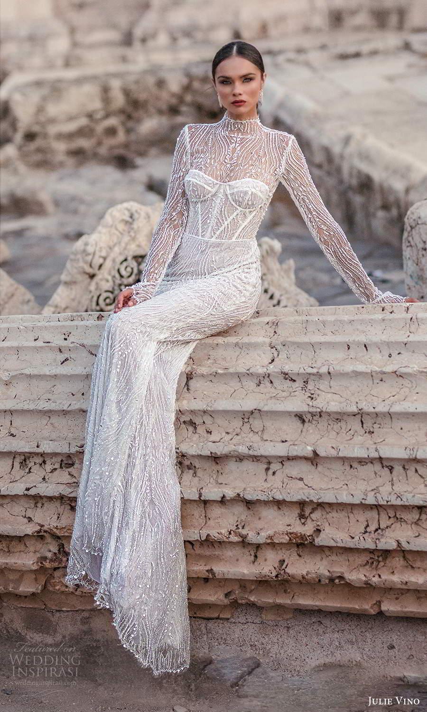 julie vino 2021 bridal long sleeves high neckline corset bodice fully embellished sheath wedding dress sweep train cutout back (7) mv