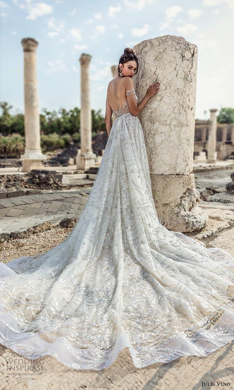 julie vino 2021 bridal off shoulder straps plunging sweetheart neckline fully embellished a line ball gown wedding dress cathedral train (9) bv