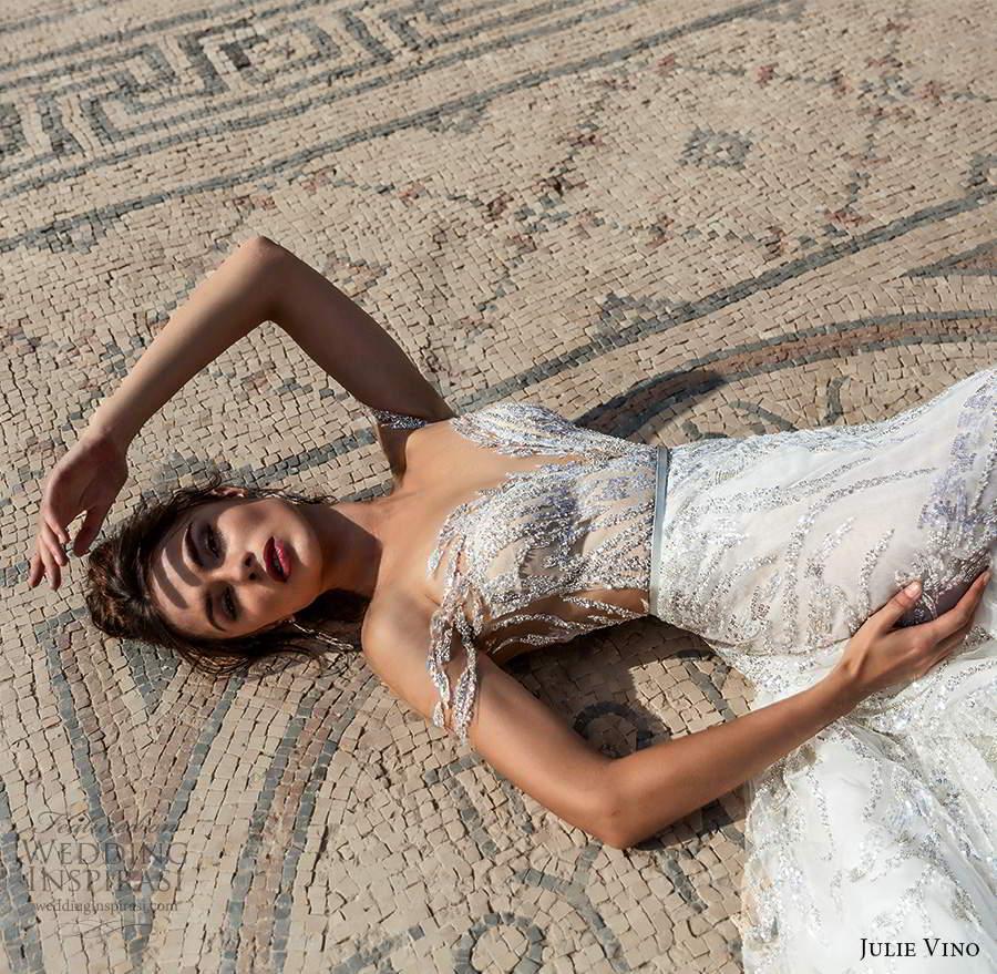 julie vino 2021 bridal off shoulder straps plunging sweetheart neckline fully embellished a line ball gown wedding dress cathedral train (9) zv
