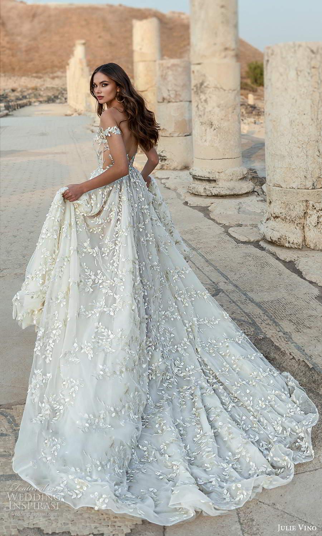 julie vino 2021 bridal off shoulder straps plunging sweetheart neckline fully embellished a line wedding dress chapel train (4) bv