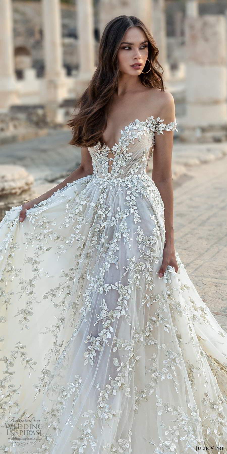 julie vino 2021 bridal off shoulder straps plunging sweetheart neckline fully embellished a line wedding dress chapel train (4) lv