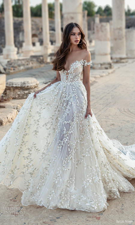 julie vino 2021 bridal off shoulder straps plunging sweetheart neckline fully embellished a line wedding dress chapel train (4) mv