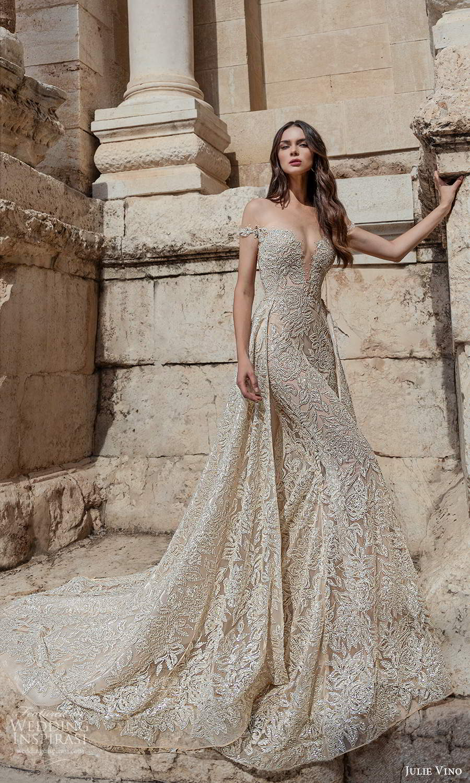 julie vino 2021 bridal off shoulder straps plunging sweetheart neckline fully embellished sheath wedding dress a line overskirt chapel train (2) mv