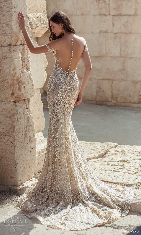 julie vino 2021 bridal off shoulder straps plunging sweetheart neckline fully embellished sheath wedding dress chapel train sheer back (2) bv