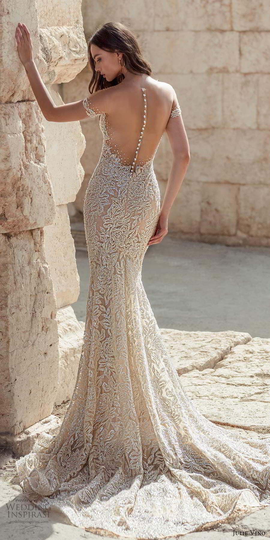 julie vino 2021 bridal off shoulder straps plunging sweetheart neckline fully embellished sheath wedding dress chapel train sheer back (2) lbv