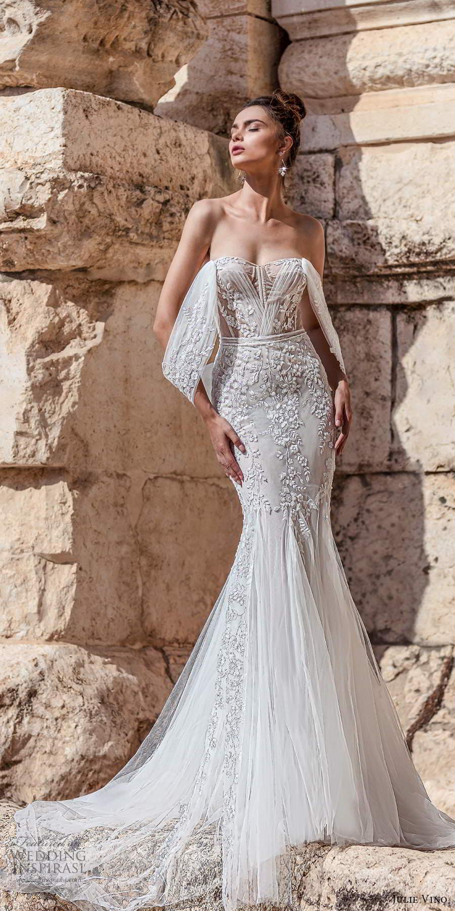 julie vino 2021 bridal off shoulder swag straps semi sweetheart neckline fully embellished fit flare mermaid wedding dress chapel train (8) mv