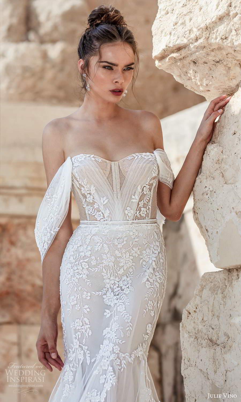 julie vino 2021 bridal off shoulder swag straps semi sweetheart neckline fully embellished fit flare mermaid wedding dress chapel train (8) zv