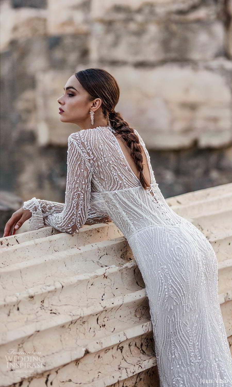 julie vino 2021 bridal sheer long sleeves high neckline fully embellished sheath wedding dress (8) bv