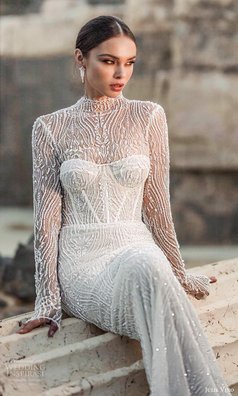 julie vino 2021 bridal sheer long sleeves high neckline fully embellished sheath wedding dress (8) mv