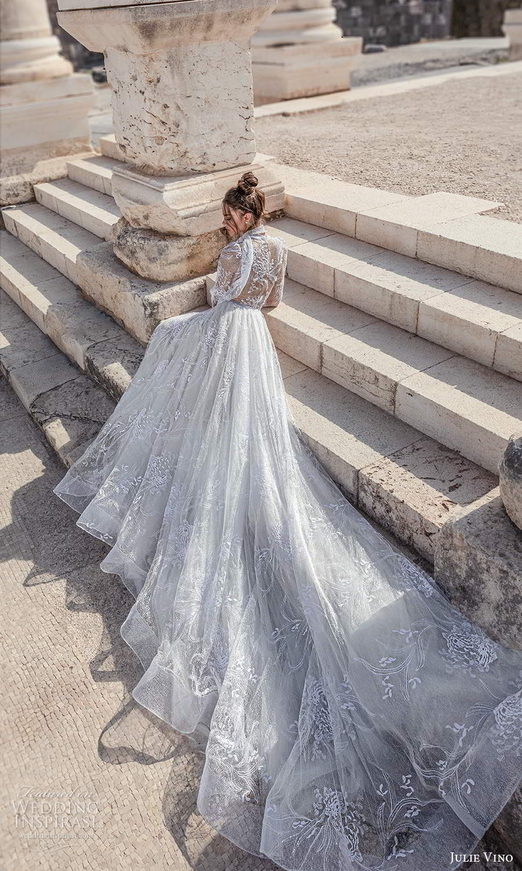 julie vino 2021 bridal sheer long sleeves illusion jewel neck sweetheart neckline fully embellished a line ball gown wedding dress chapel train (6) bv