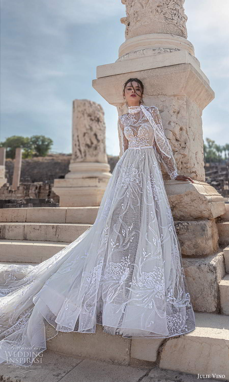julie vino 2021 bridal sheer long sleeves illusion jewel neck sweetheart neckline fully embellished a line ball gown wedding dress chapel train (6) mv
