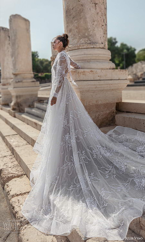 julie vino 2021 bridal sheer long sleeves illusion jewel neck sweetheart neckline fully embellished a line ball gown wedding dress chapel train (6) sv