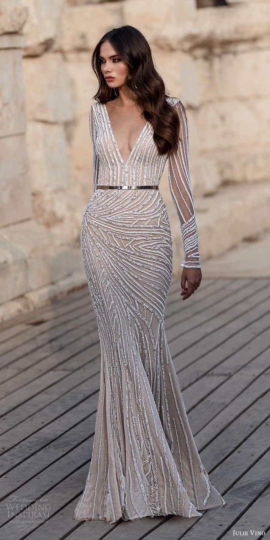 julie vino 2021 bridal sheer long sleeves plunging v neckline fully embellished sheath wedding dress sweep train (5) mv