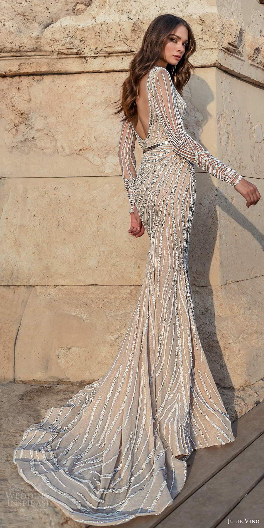 julie vino 2021 bridal sheer long sleeves plunging v neckline fully embellished sheath wedding dress sweep train scoop back (5) mv