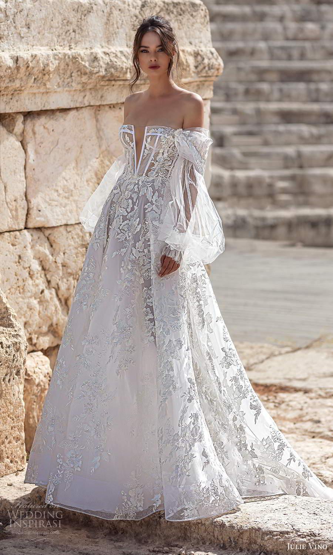 julie vino 2021 bridal sheer off shoulder bishop sleeves semi sweetheart neckline fully embellished a line ball gown wedding dress chapel train (1) mv