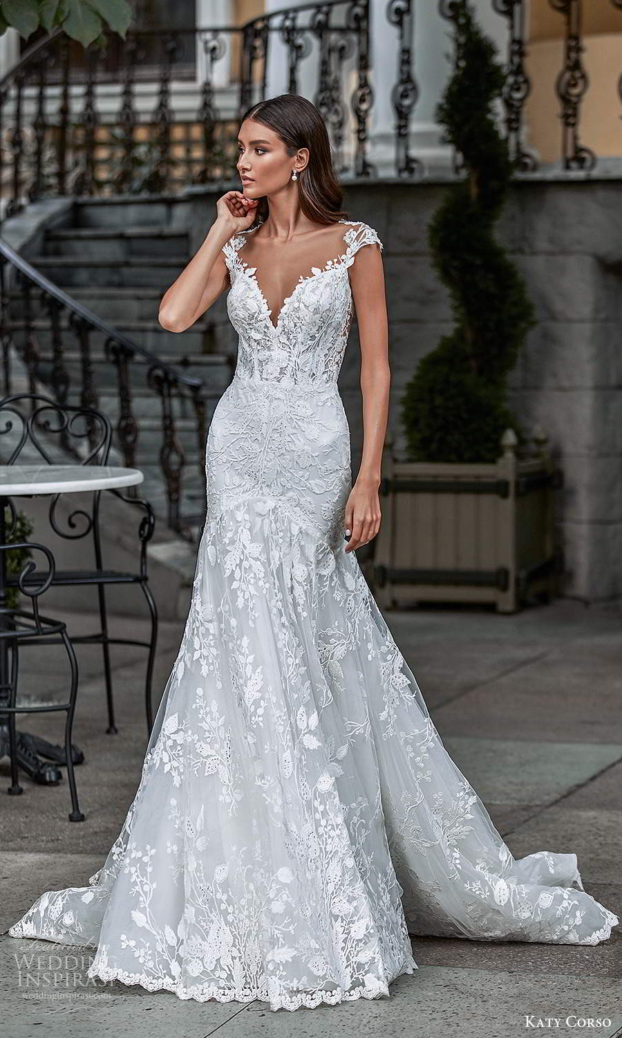 katy corso 2021 bridal cap sleeves plunging sweetheart neckline fully embellished lace fit flare a line wedding dress chapel train (17) mv