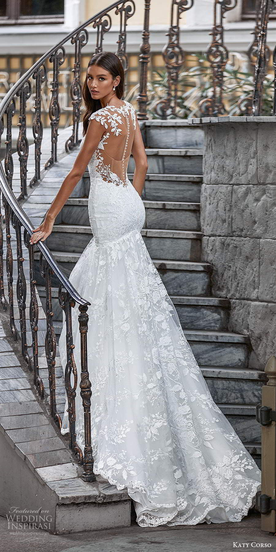 katy corso 2021 bridal cap sleeves plunging sweetheart neckline fully embellished lace fit flare a line wedding dress chapel train illusion back (17) bv
