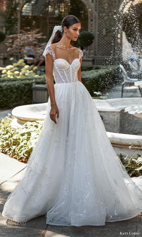katy corso 2021 bridal cap sleeves sweeetheart neckline fully embellished a line ball gown wedding dress chapel train (11) mv