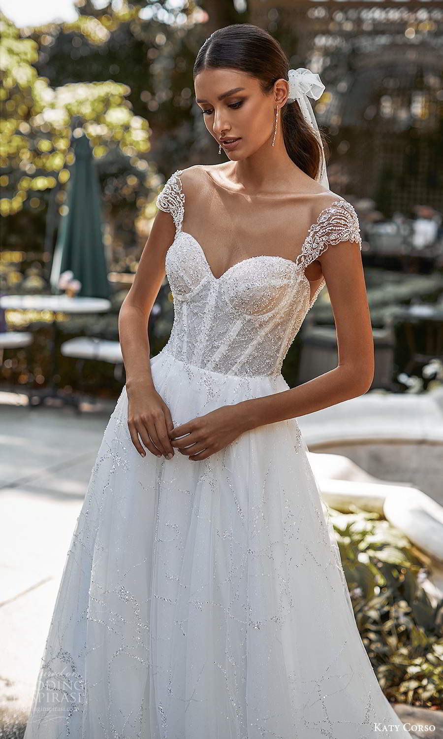 katy corso 2021 bridal cap sleeves sweeetheart neckline fully embellished a line ball gown wedding dress chapel train (11) zv
