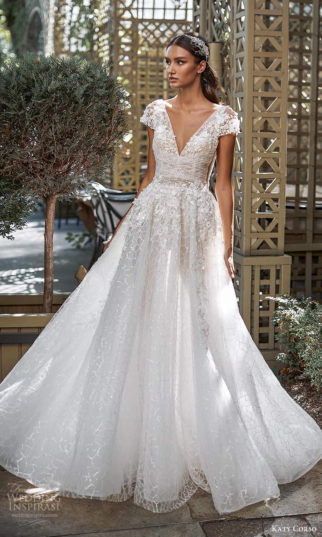 katy corso 2021 bridal cap sleeves v neckline fully embellished a line ball gown wedding dress chapel train (10) fv