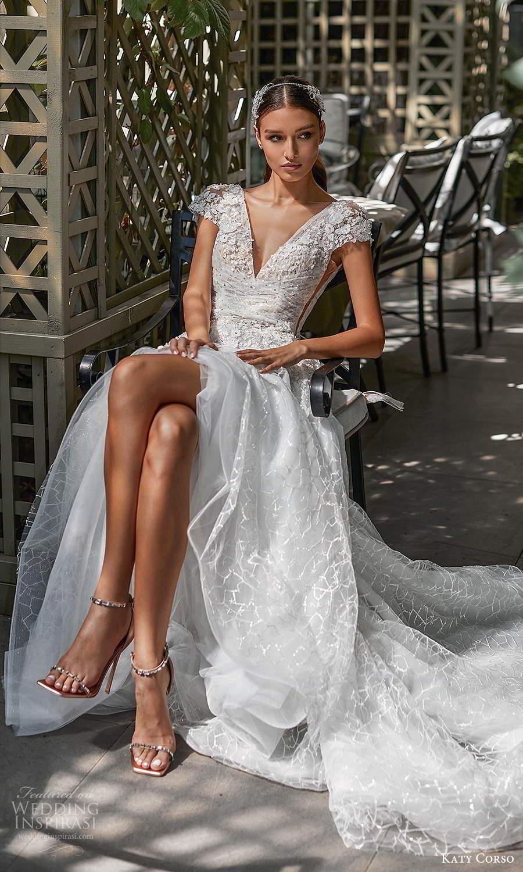 katy corso 2021 bridal cap sleeves v neckline fully embellished a line ball gown wedding dress chapel train (10) mv