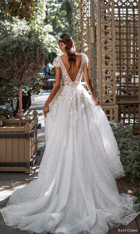 katy corso 2021 bridal cap sleeves v neckline fully embellished a line ball gown wedding dress chapel train v back (10) bv