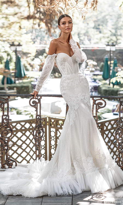 katy corso 2021 bridal detached off shoulder long sleeves sweetheart neckline fully embellished lace fit flare mermaid wedding dress chapel train (1) mv