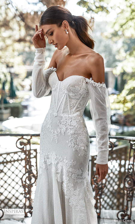 katy corso 2021 bridal detached off shoulder long sleeves sweetheart neckline fully embellished lace fit flare mermaid wedding dress chapel train (1) zsv