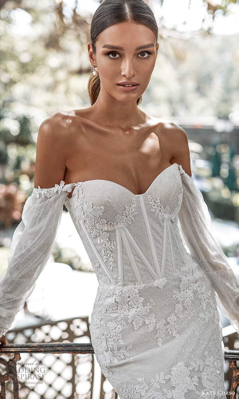 katy corso 2021 bridal detached off shoulder long sleeves sweetheart neckline fully embellished lace fit flare mermaid wedding dress chapel train (1) zv