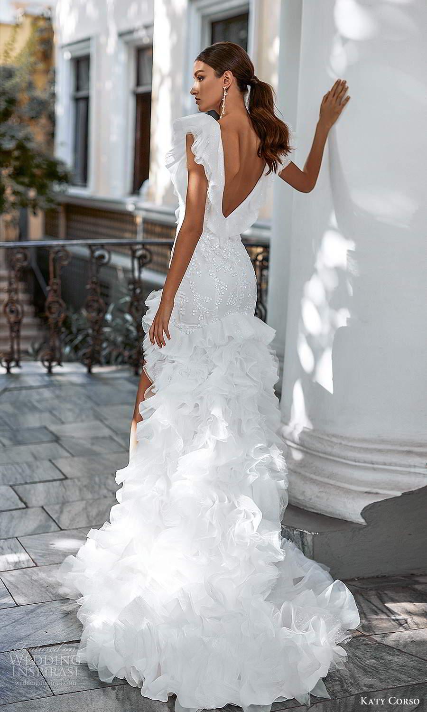 katy corso 2021 bridal flutter sleeveless plunging v neckline fully embellished sheath mermaid wedding dress ruffle skirt chapel train (20) bv