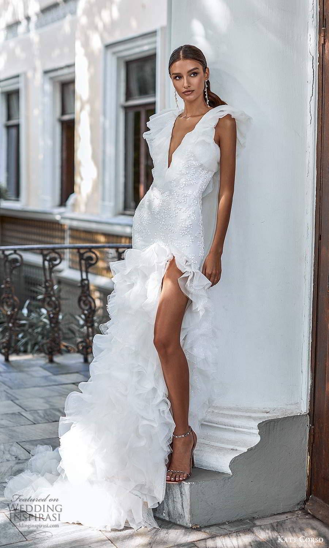 katy corso 2021 bridal flutter sleeveless plunging v neckline fully embellished sheath mermaid wedding dress ruffle skirt chapel train (20) mv