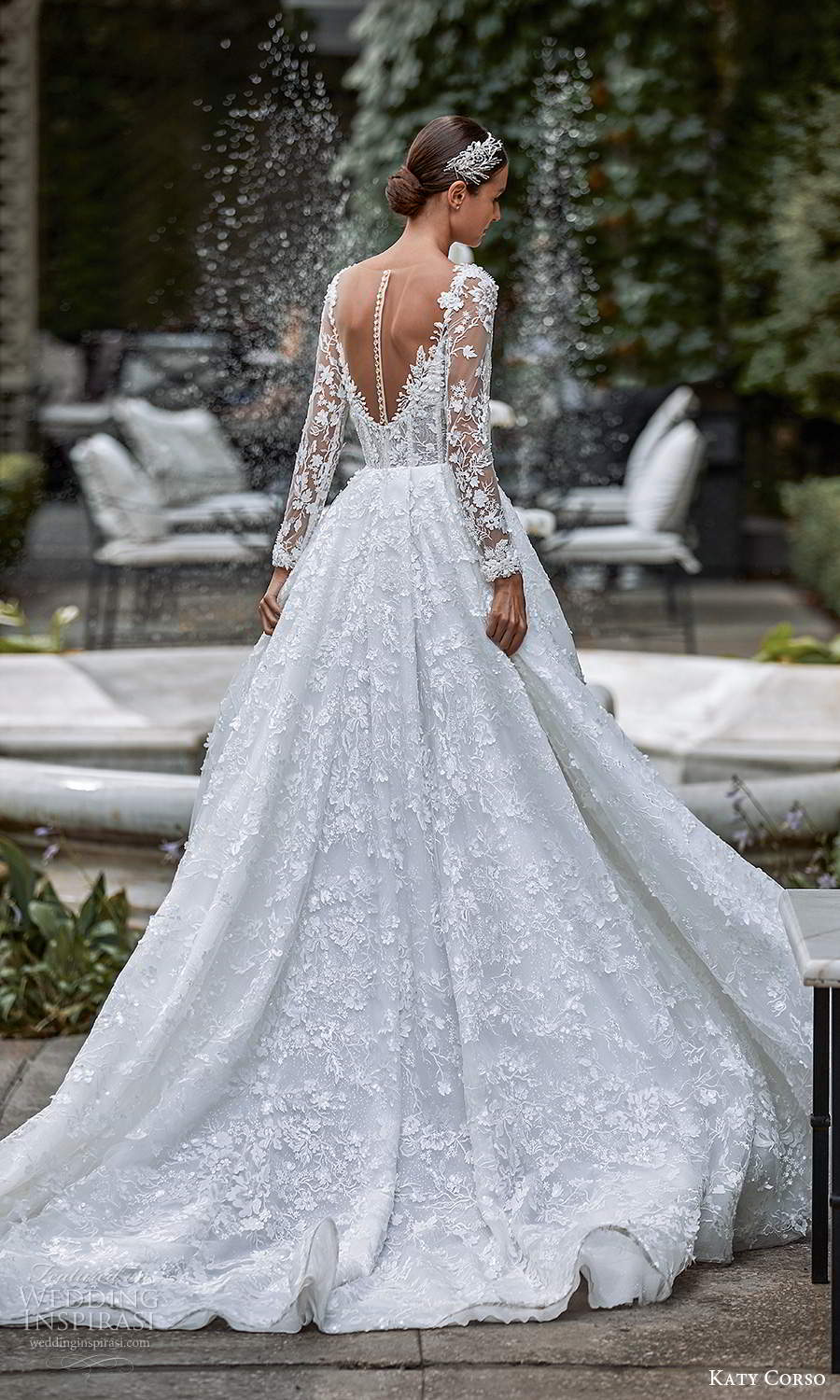 katy corso 2021 bridal illusion long sleeves sweetheart neckline fully embellished a line ball gown wedding dress chapel train (18) bv