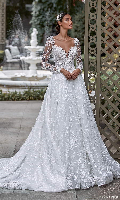 katy corso 2021 bridal illusion long sleeves sweetheart neckline fully embellished a line ball gown wedding dress chapel train (18) mv