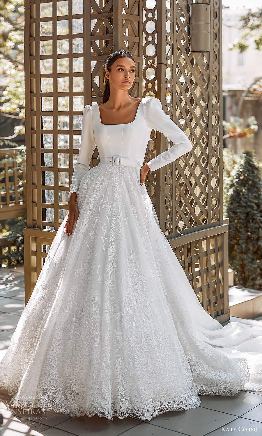katy corso 2021 bridal long puff sleeves square neckline clean bodice embellished lace skirt a line ball gown wedding dress chapel train (5) mv