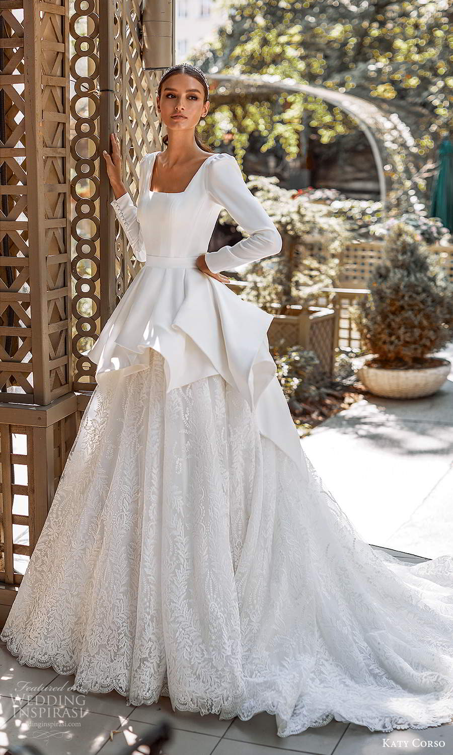 katy corso 2021 bridal long puff sleeves square neckline clean bodice embellished lace skirt peplum a line ball gown wedding dress chapel train (5) mv
