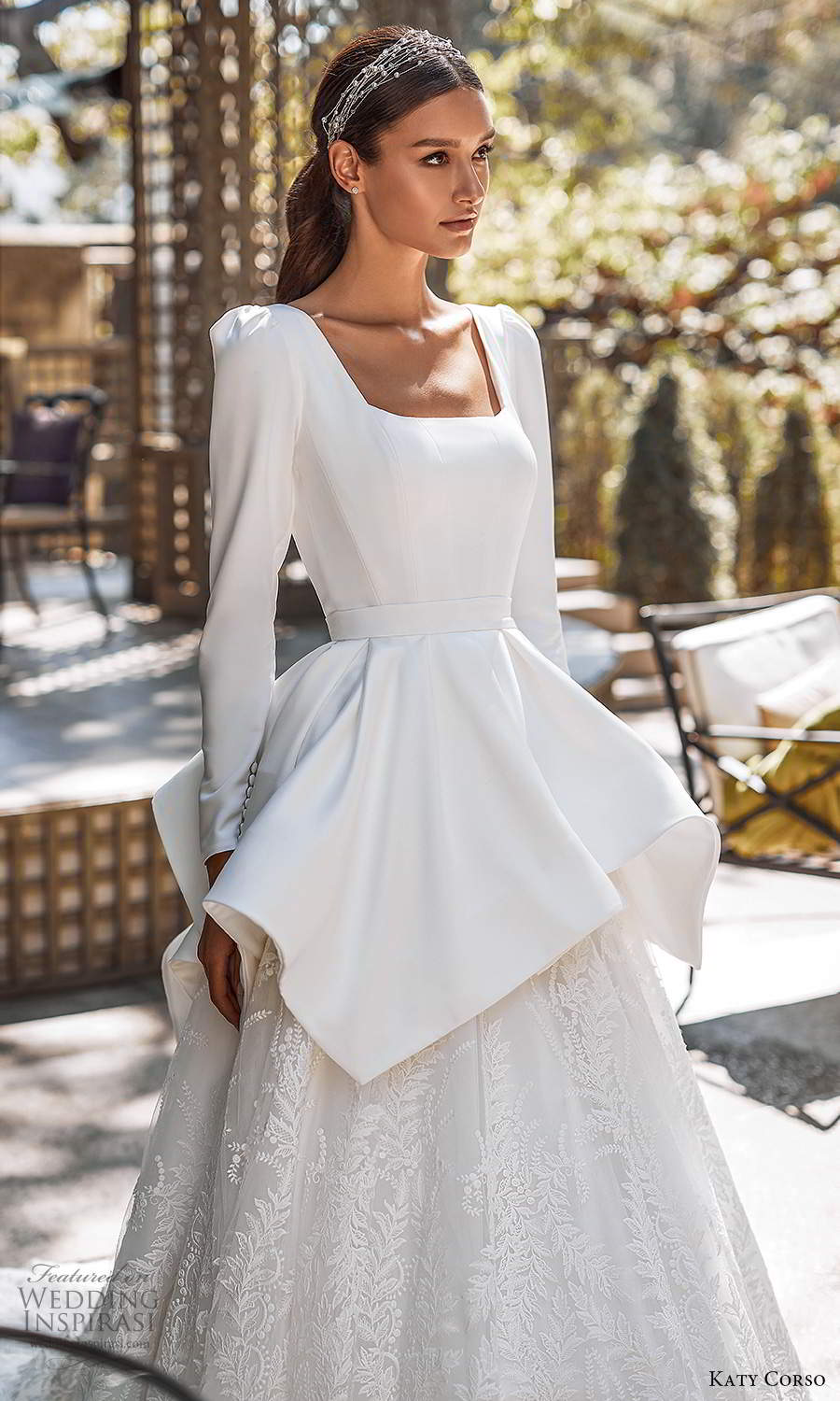 katy corso 2021 bridal long puff sleeves square neckline clean bodice embellished lace skirt peplum a line ball gown wedding dress chapel train (5) zv