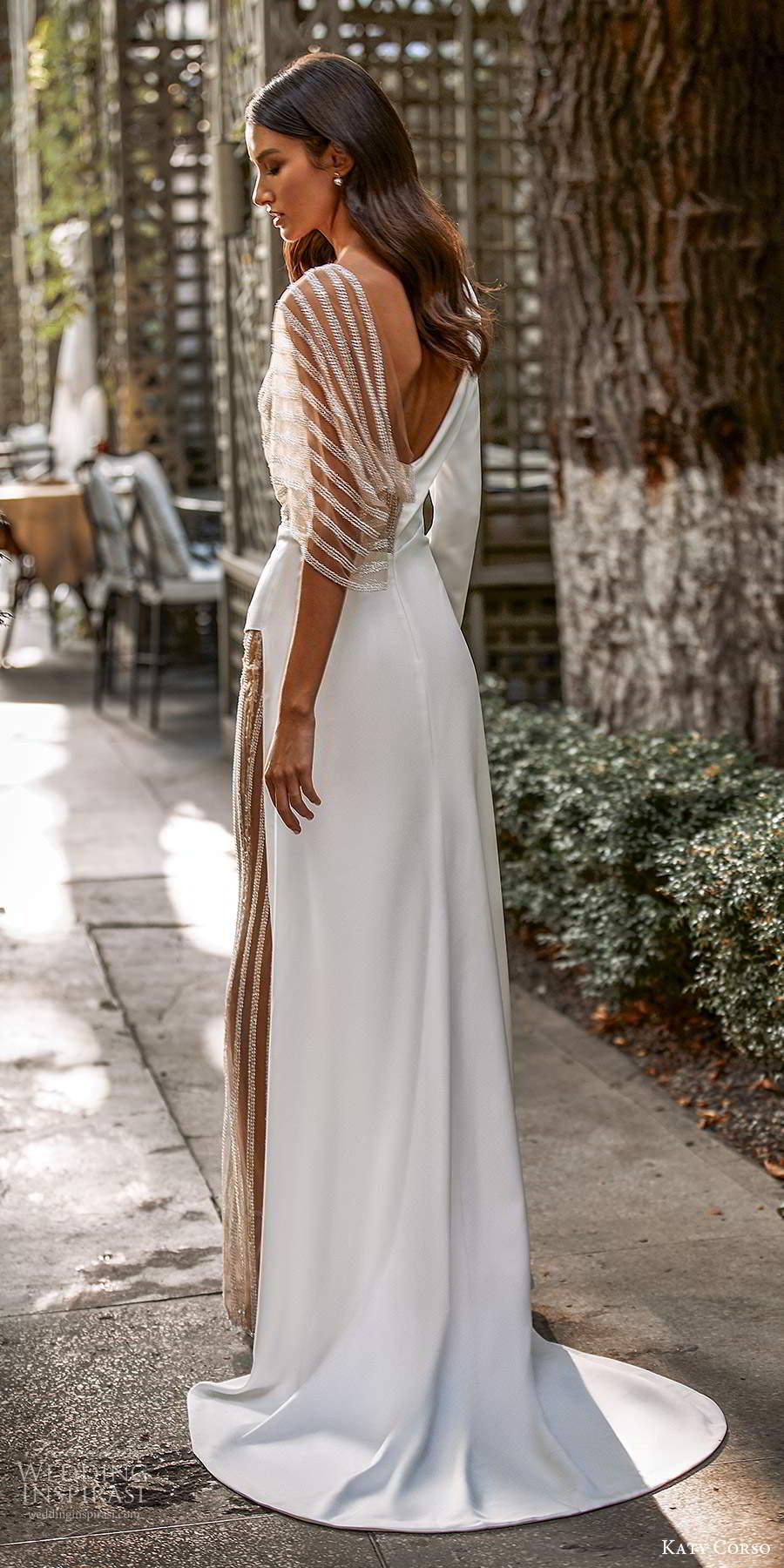 katy corso 2021 bridal long sleeve collar v neckline clean minimalist pant a line wedding dress (3) bv