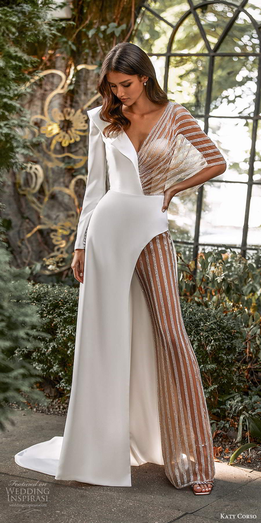 katy corso 2021 bridal long sleeve collar v neckline clean minimalist pant a line wedding dress (3) mv