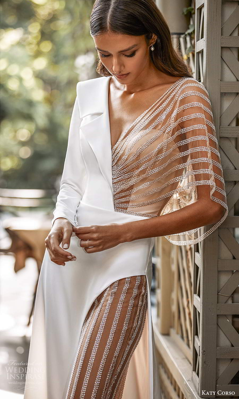 katy corso 2021 bridal long sleeve collar v neckline clean minimalist pant a line wedding dress (3) zv