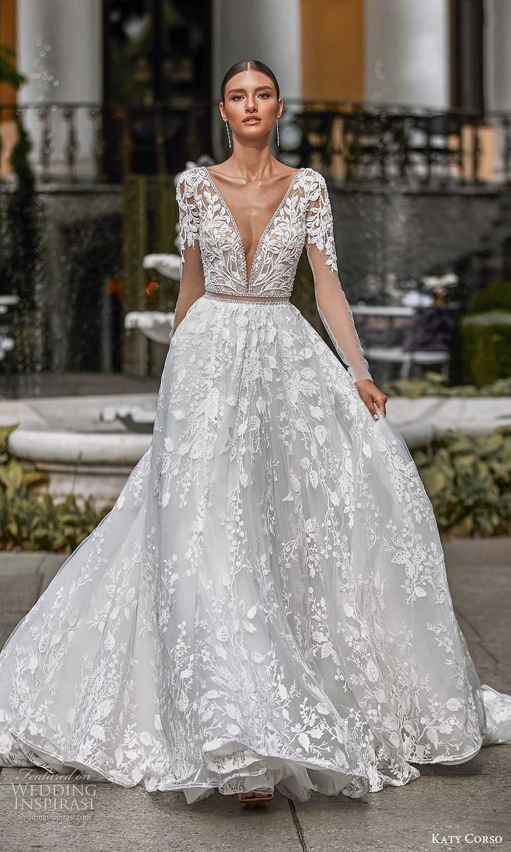 katy corso 2021 bridal long sleeves plunging v neckline fully embellished a line ball gown wedding dress chapel train (15) mv