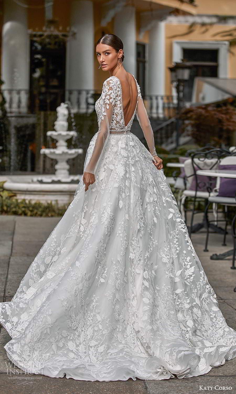 katy corso 2021 bridal long sleeves plunging v neckline fully embellished a line ball gown wedding dress chapel train v back (15) bv