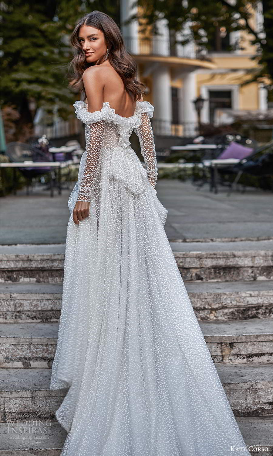 katy corso 2021 bridal off shoulder long sleeves sweetheart neckline fully embellished a line ball gown wedding dress chapel train (13) bv