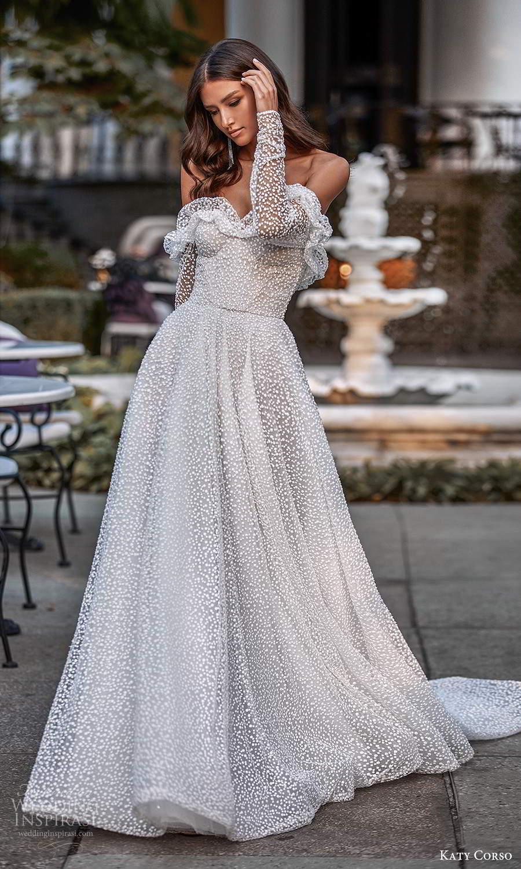 katy corso 2021 bridal off shoulder long sleeves sweetheart neckline fully embellished a line ball gown wedding dress chapel train (13) mv