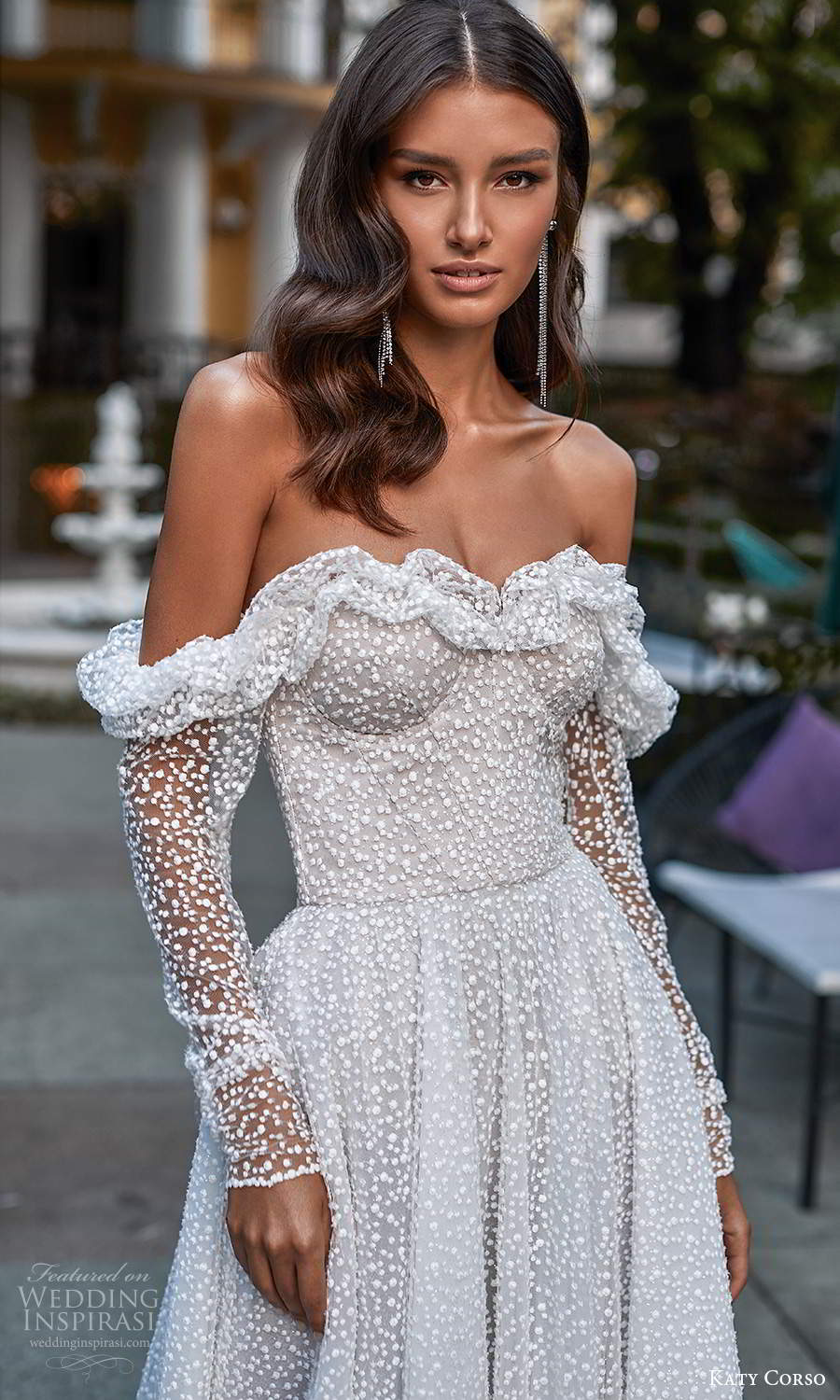 katy corso 2021 bridal off shoulder long sleeves sweetheart neckline fully embellished a line ball gown wedding dress chapel train (13) zv