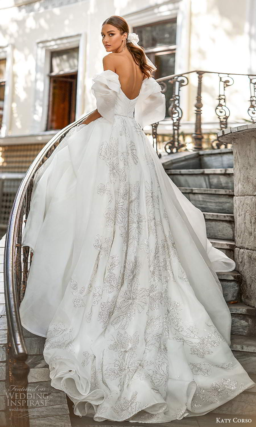 katy corso 2021 bridal off shoulder straps sweetheart neckline ruched bodice siilver embellished skirt a line ball gown wedding dress chapel train (2) bv