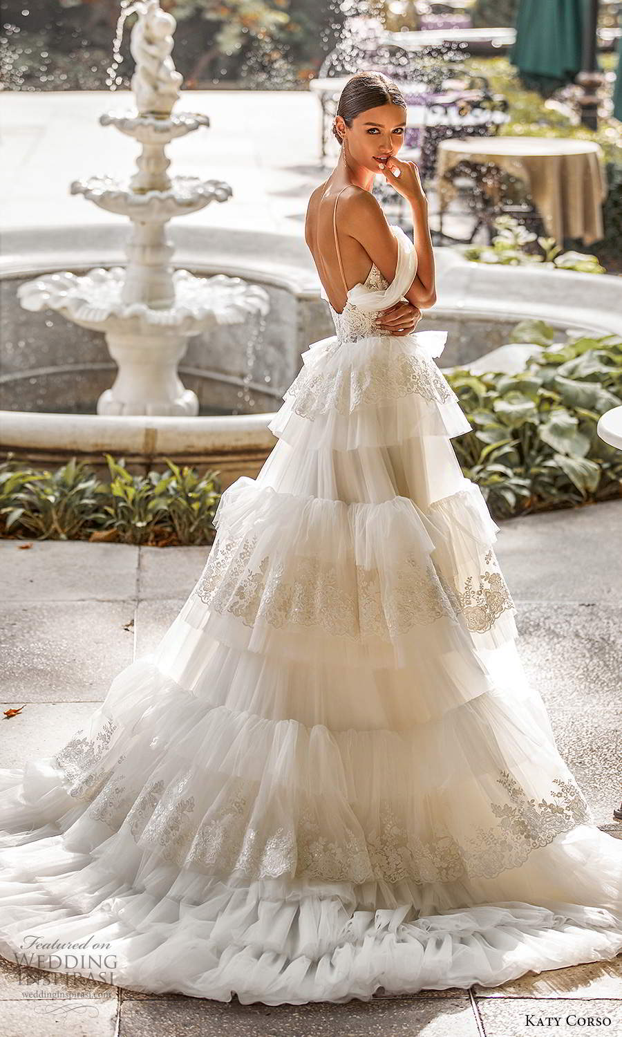 katy corso 2021 bridal off shoulder swag sleeves thin straps sweetheart neckline a line ball gown wedding dress tiered skirt chapel train (4) bv