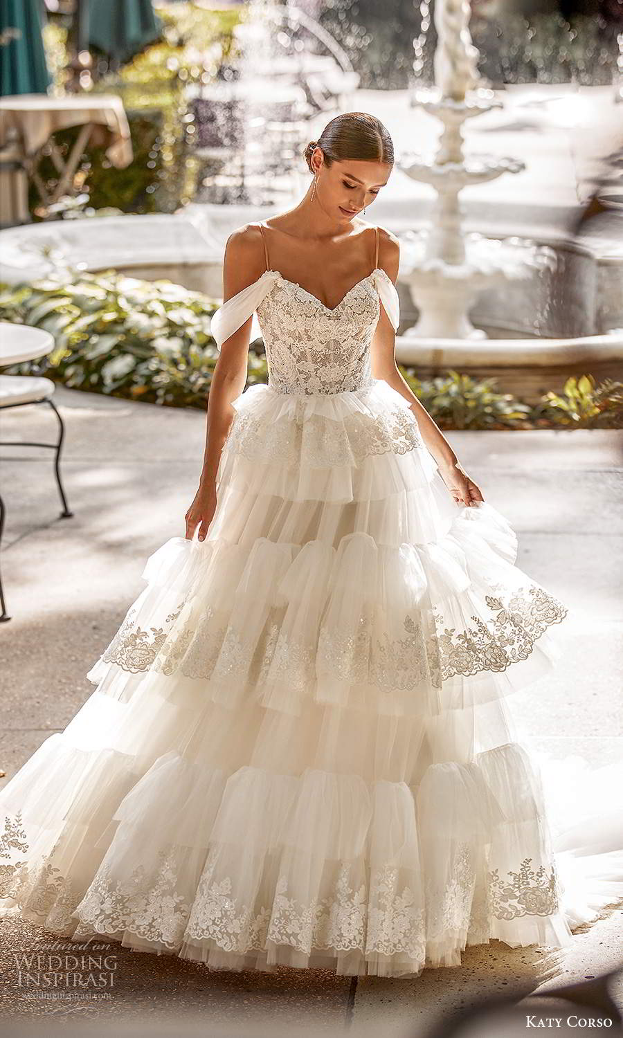 katy corso 2021 bridal off shoulder swag sleeves thin straps sweetheart neckline a line ball gown wedding dress tiered skirt chapel train (4) mv