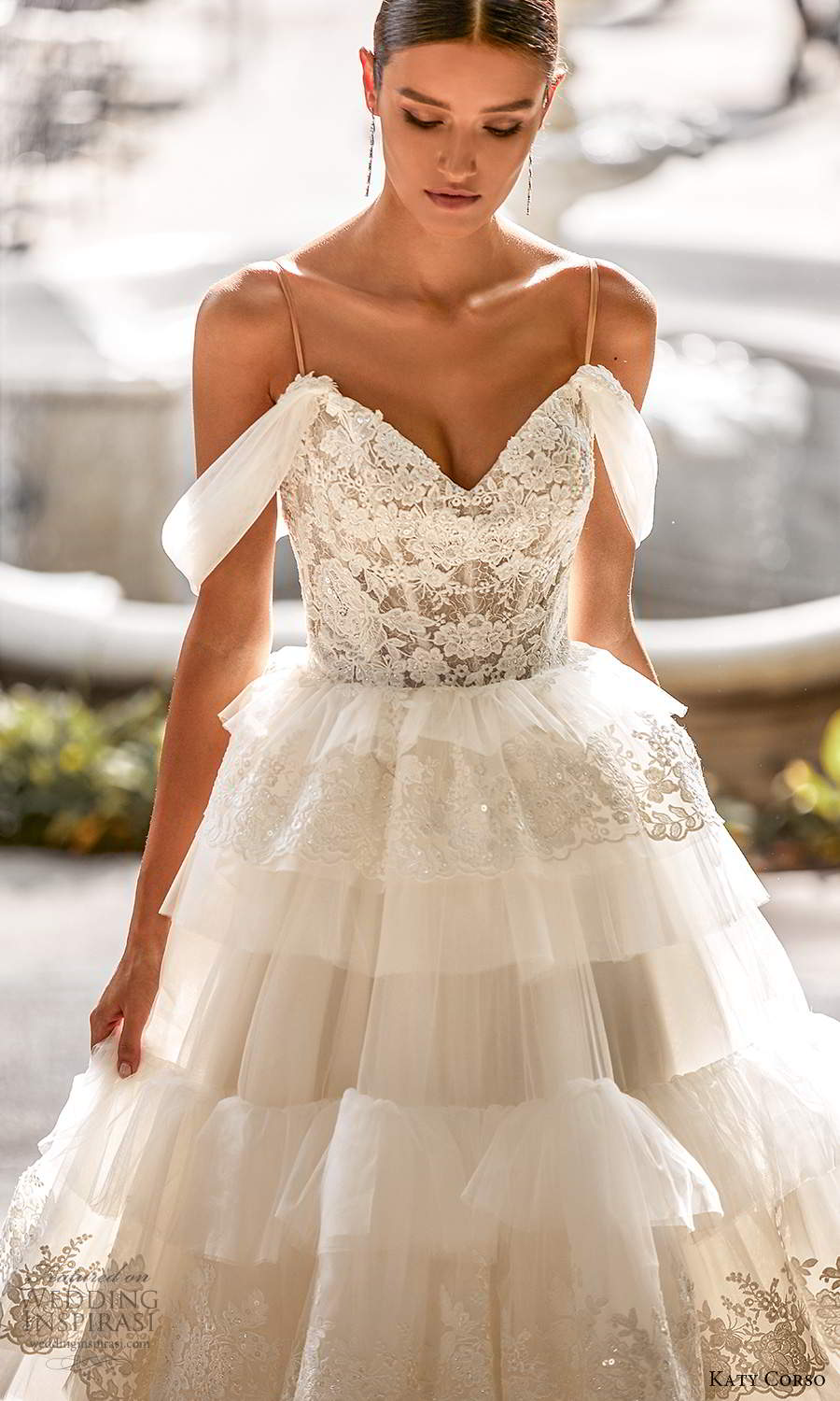 katy corso 2021 bridal off shoulder swag sleeves thin straps sweetheart neckline a line ball gown wedding dress tiered skirt chapel train (4) zv