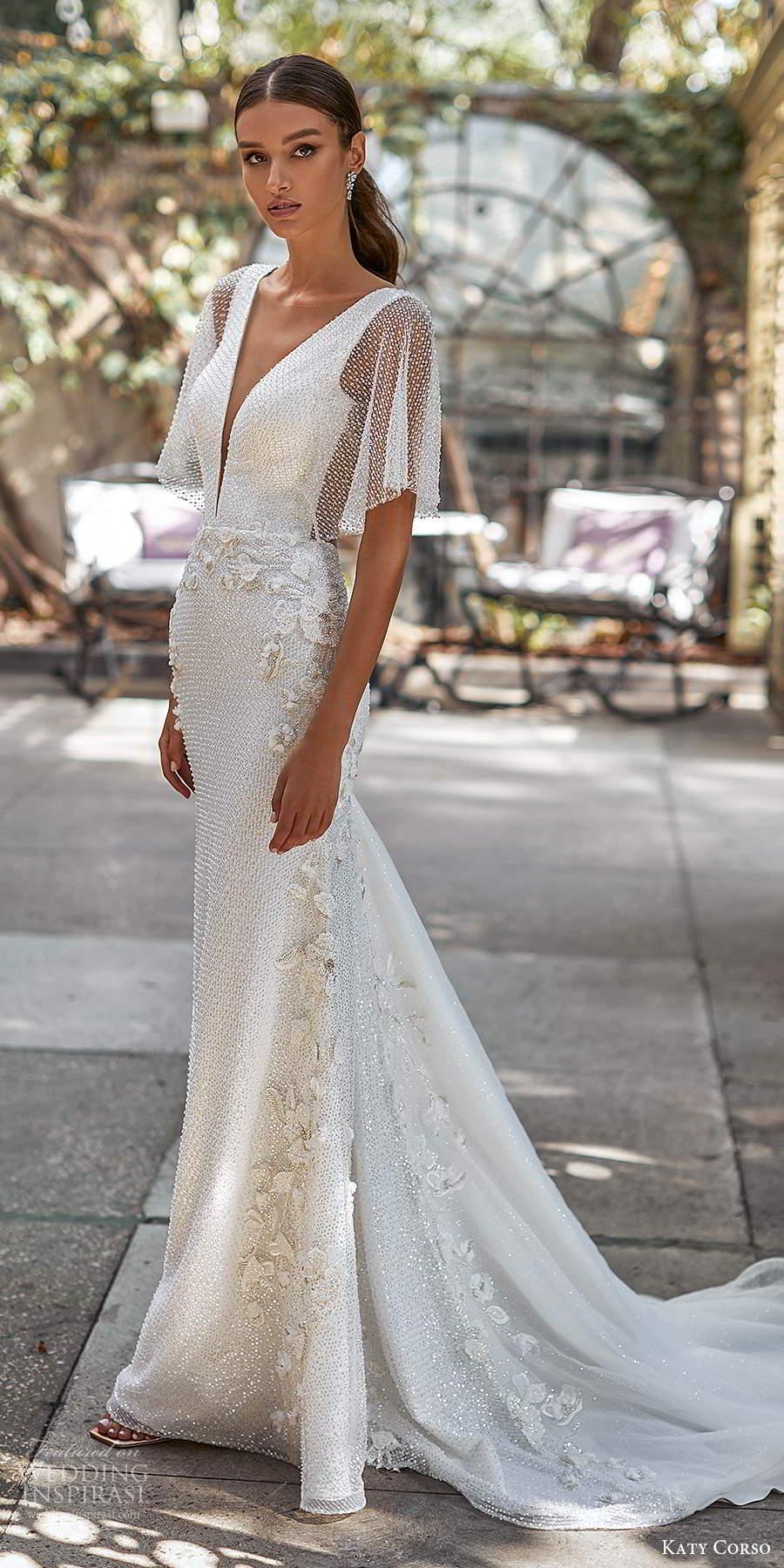 katy corso 2021 bridal sheer flutter sleeves plunging v neckline fully embellished sheath wedding dress chapel train (19) mv
