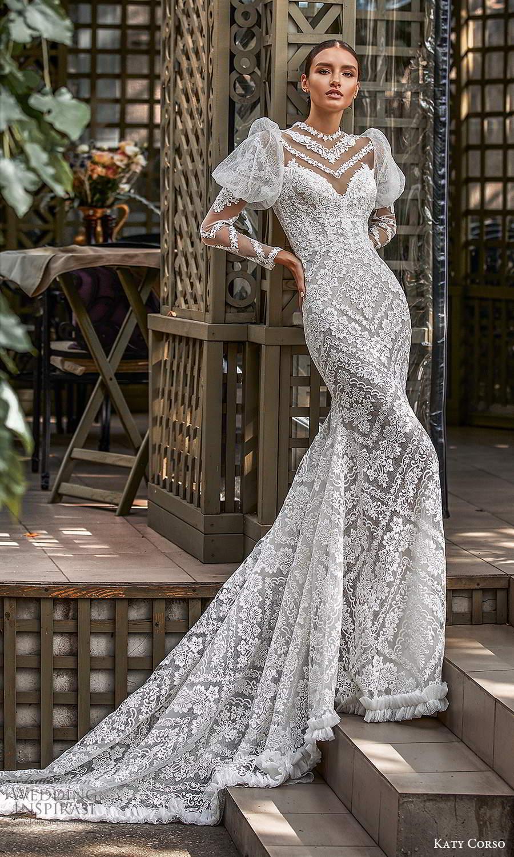 katy corso 2021 bridal sheer long puff sleeves illusion jewel sweetheart neckline fully embellished lace sheath wedding dress chapel train (7) mv